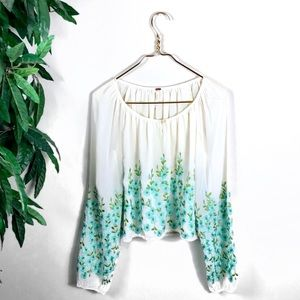 Free People • Cream/Teal Floral Blouse.